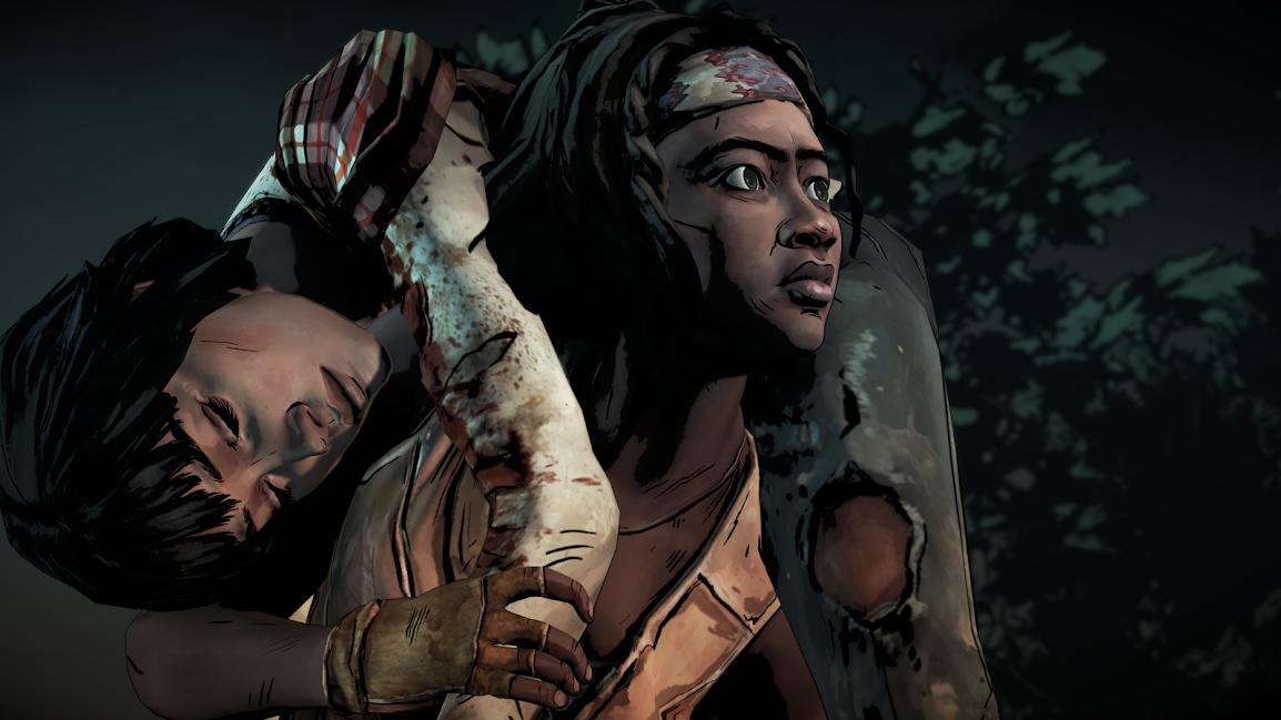 The Walking Dead Michonne portant Sam