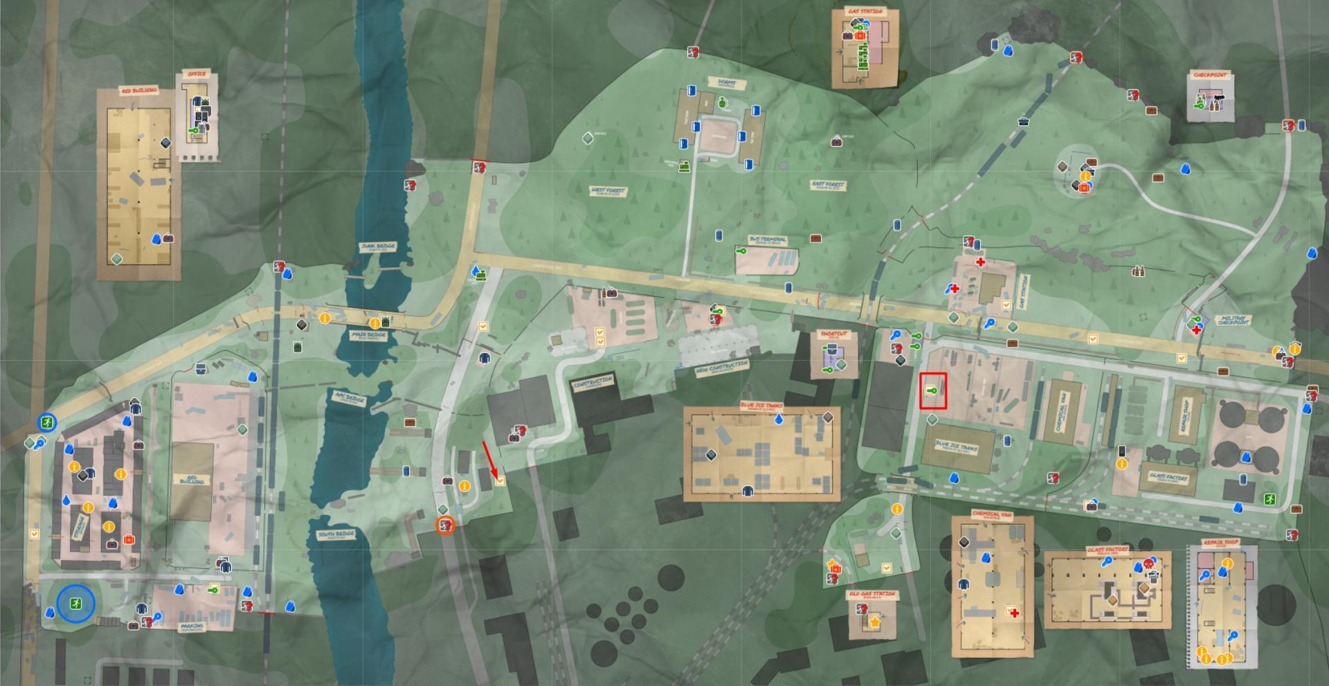Carte des douanes s'échappe de Tarkov