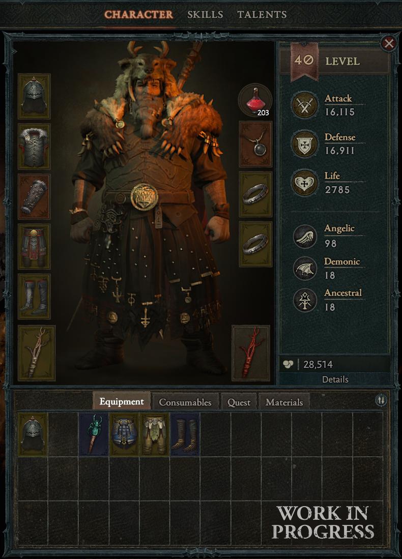 Écran d'inventaire de Diablo 4