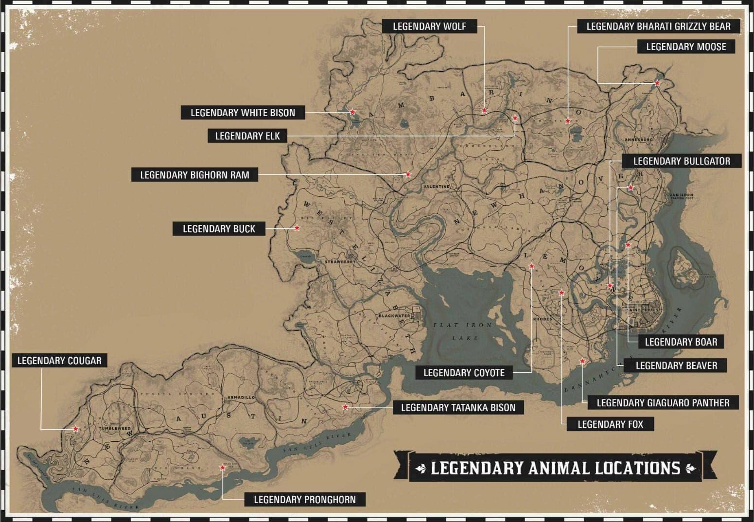 Carte des animaux légendaires de Red Dead Redemption 2