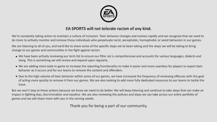 Déclaration d'EA Sports