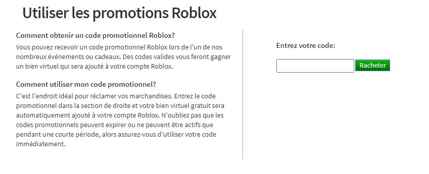 Utiliser les promotions Roblox