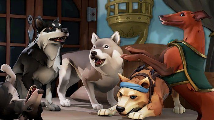 Sea of Thieves - Les chiens alsaciens, whippets et inu sont assis, debout et jouent les uns avec les autres sur une table