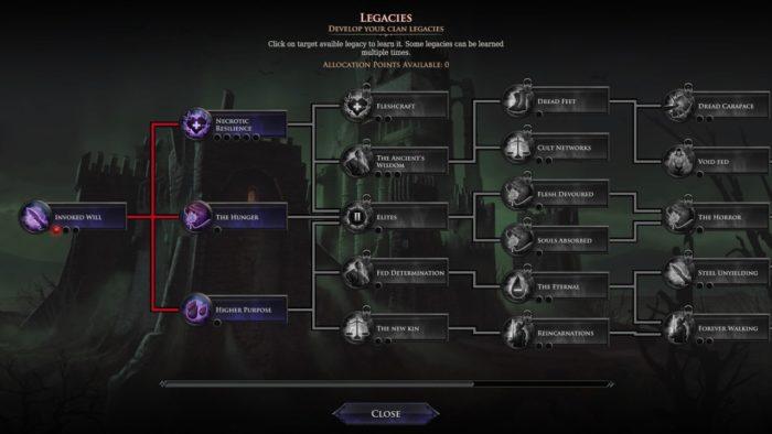 Menu de Immortal Realms Vampire Wars