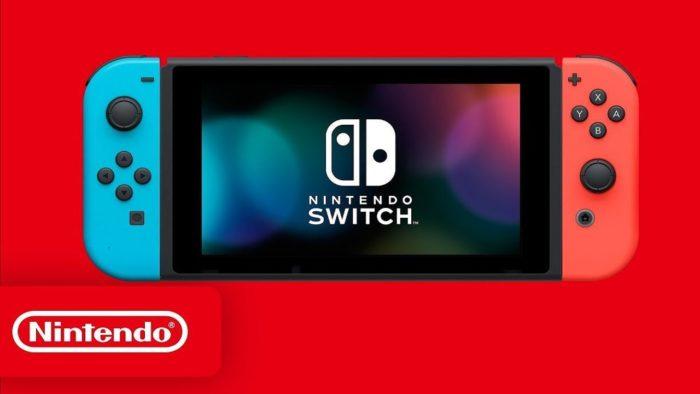 Nintendo Switch sur fond rouge