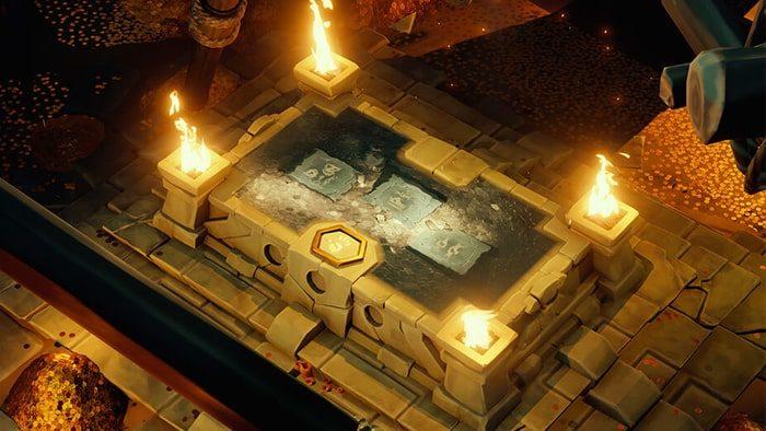 Sea of Thieves: Vaults of the Ancients - Grand changement de pierre avec une flamme à chaque coin qui affiche la solution à un puzzle au centre